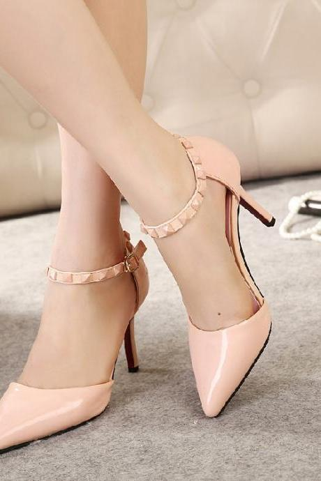 Female shoes with pointed toe and buckle
