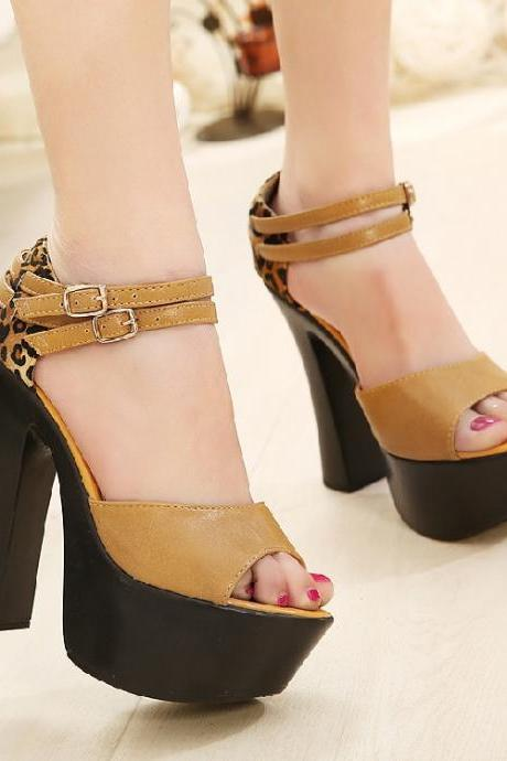 Women's high-heeled sandals with belt buckle