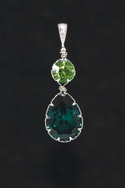 CZ Detailed Pendant with Swarovski Round Peridot and Emerald Green Teardrop Crystals - Wedding Jewelry, Bridal Jewelery (P061)