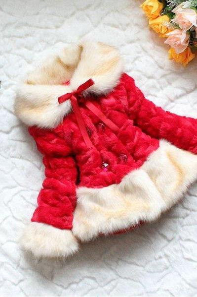 Red Fur Jackets Red Fur Coats Red Trench Coats for Kids 2T,3T,4T,5T