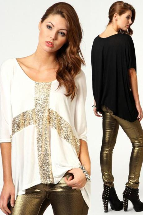 Sequins Cross Front Batwing Sleeves Loose T-shirt