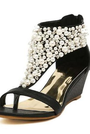Pearl Embellished Open Toe Wedge Sandals with Back Zipper