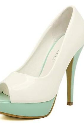 Chic Color Block Peep Toe High Heel Fashion Shoes