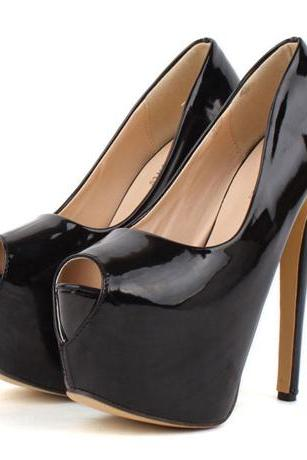 Sexy Black Peep Toe High Heel Pumps