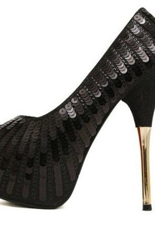 Sequins Black Peep Toe High Heel Fashion Party Pumps
