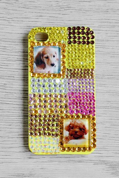 Colourful Rhinestone Glass Dog iphone 4 4S cases Bling Bling iPhone case Yellow iPhone case (PC65)
