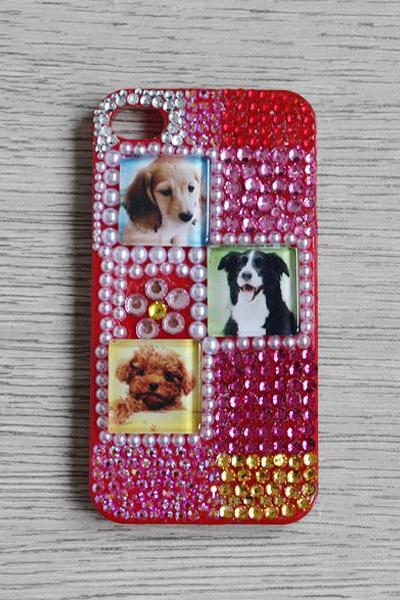 Colourful Rhinestone Glass Dog iphone 4 4S cases Bling Bling iPhone case Red iPhone case (PC66)