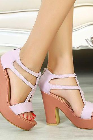 Purple Chunky Heel Sandals
