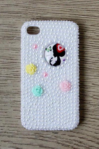 Resin Flower White Pearl Glass Girl iphone 4 4S cases Bling Bling iPhone case White Pearl iPhone case (PC69)