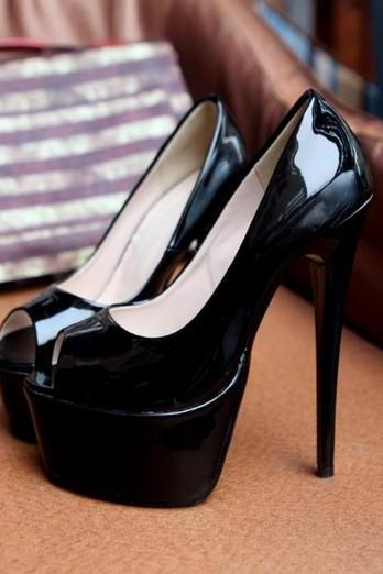 Black Peep Toe Stiletto Heel Fashion Pumps
