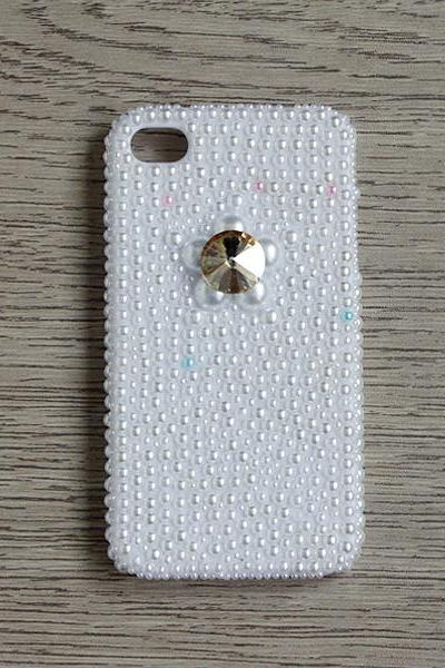 Crystal Gem Full White Pearl iphone 4 4S cases Bling Bling iPhone case White Pearl iPhone case (PC70)