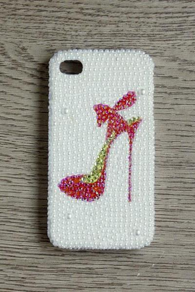 Red Rhinestone high-heeled shoes White Pearl iphone 4 4S cases Bling Bling iPhone case White Pearl iPhone case (PC71)