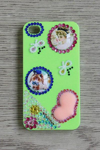 Rabbit and Vintage Girl Yellow Green iphone 4 4S cases Bling Bling iPhone case (PC72)