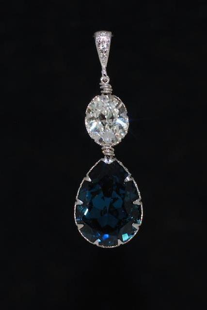 CZ Detailed Pendant with Swarovski Clear Oval and Montana Blue Teardrop Crystals - Wedding Jewelry, Bridal Jewelery (P070)