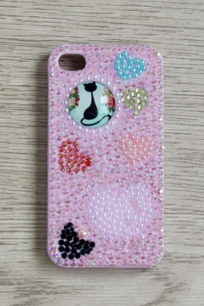 Purple Full Rhinestone Cat Heart iphone 4 4S cases Bling Bling iPhone case (PC75)