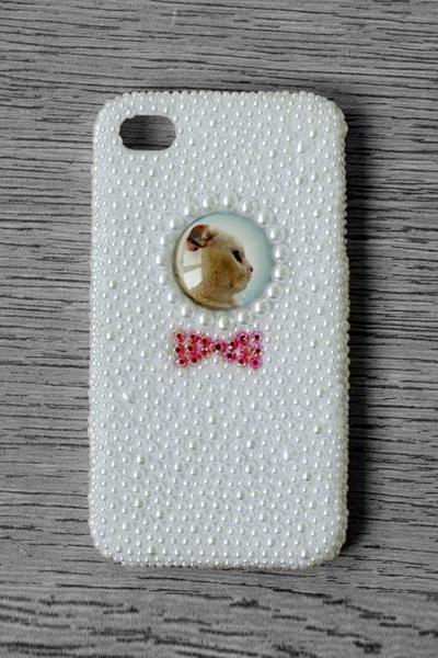 Glass Dome Cat Red Bow Full White Pearl iphone 4 4S cases Bling Bling iPhone case (PC78)