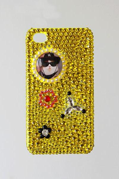 Glass Dome Cat Gold Rhinestone iphone 4 4S cases Bling Bling iPhone case (PC80)