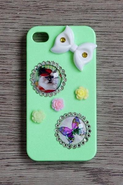 Glass Dome Cat Butterfly White Bow Light Green iphone 4 4S cases Bling Bling iPhone case (PC81)