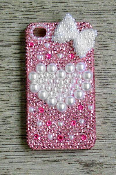 White Pearl Heart White Pearl Bow Pink Full Rhinestone iphone 4 4S case Bling Bling iPhone case (PC82)
