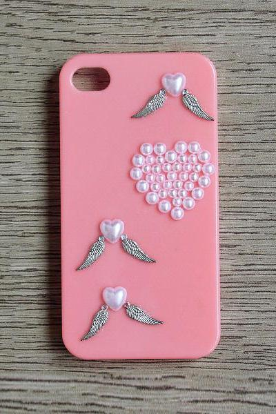 Pearl heart Metal wing Pink iphone 4 4S case Bling Bling iPhone case (PC84)