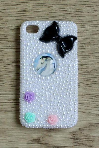 Glass Dome Horse resin flower Black Bow Full White Pearl iphone 4 4S case Bling Bling iPhone case (PC86)