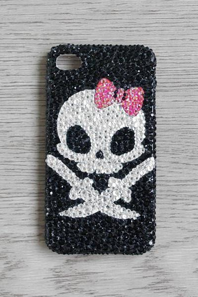Red Bow White Skull Black Rhinestone iphone 4 4S cases Bling Bling iPhone case (PC89)