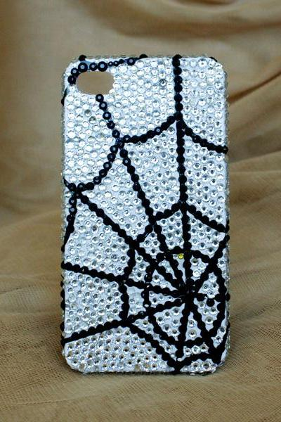 Full White Pearl Spider web iphone 4 4S cases Bling Bling iPhone case (PC91)