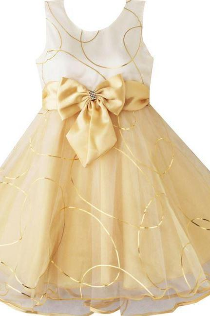 Golden Yellow Toddler Girls Wedding Outfit-Flower Girls Wedding Outfit for Little Girls-Golden Yellow Lace Dress