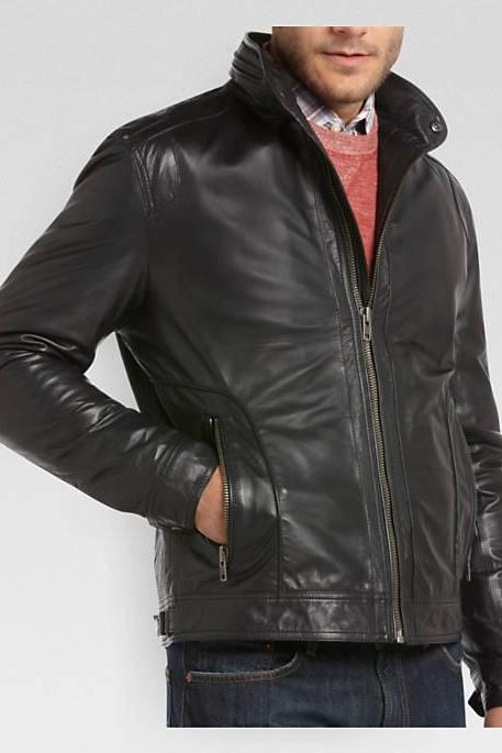 MEN HOODED LEATHER JACKET, MEN COWHIDE LEATHER JACKET