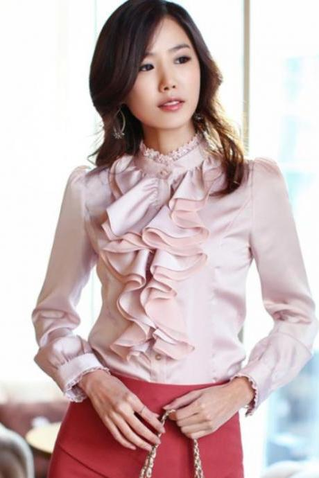 Fashion Free Ship Ruffled Pink Elegant Chiffon Blouse for Women-Pink tops long sleeve