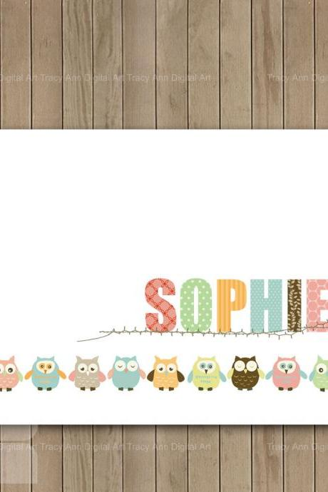 DIY Nursery Art Baby Girl Owl Border Personalised Printable Nursery Art - 8 x 10
