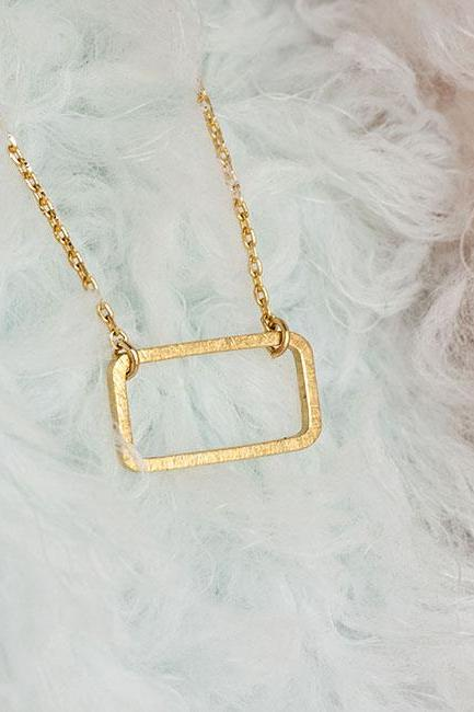 Gold Rectangle Necklace, Minimalist Geometric Zen Oblong Charm