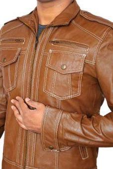 Handmade Brown Double Pocket Leather Jacket