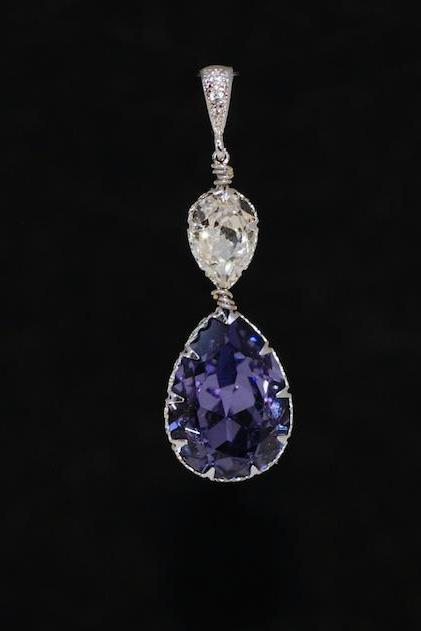 CZ Detailed Pendant with Swarovski Clear Teardrop and Tanzanite Teardrop Crystals - Wedding Jewelry, Bridal Jewelery (P068)