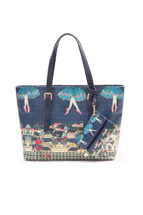 2013 autumn women's bags vintage circus shoulder bag oil painting print women's handbag big bag handbag