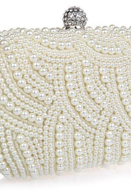 WHITE Bridal Pearl Clutch-Luxurious Shoulder Bag Floral Bag Clutch- Evening Purse for Women
