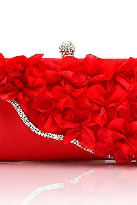 RED Bridal Pearl Clutch-Luxurious Shoulder Bag Floral Bag Clutch- Evening Purse for Women