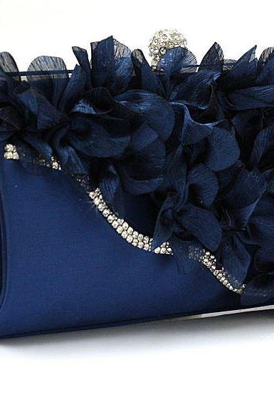 Navy BLUE Bridal Pearl Clutch-Luxurious Shoulder Bag Floral Bag Clutch- Evening Purse for Women