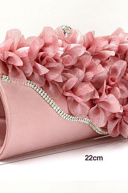 PINK Bridal Pearl Clutch-Luxurious Shoulder Bag Floral Bag Clutch- Evening Purse for Women