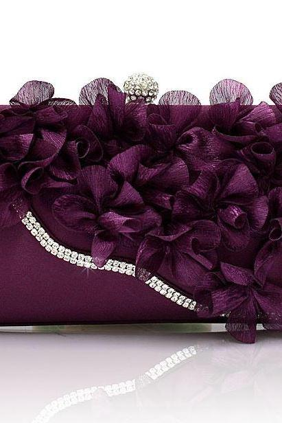 PURPLE Bridal Pearl Clutch-Luxurious Shoulder Bag Floral Bag Clutch- Evening Purse for Women