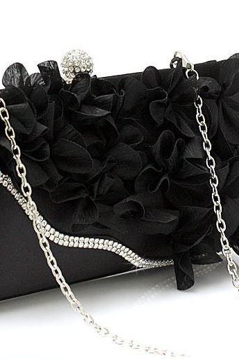 BLACK Bridal Pearl Clutch-Luxurious Shoulder Bag Floral Bag Clutch- Evening Purse for Women