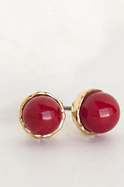 Red Coral Bead Stud Earrings, Mini Ball Bead Ear Posts, Minimalist