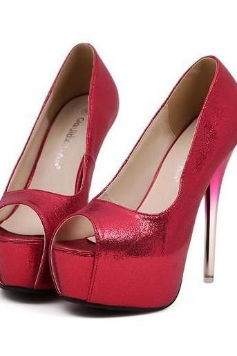 Hot Red Peep Toe High Heels Fashion Pumps