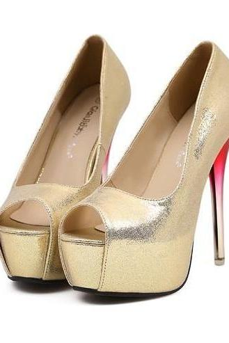 Peep Toe Pumps In Sexy Metallic Gold