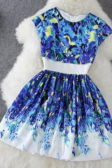 Summer fashion print short-sleeved dress CC05319DR
