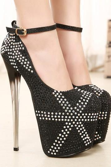 Black Rhine Stone Design High Heels Fashion Party Pumps