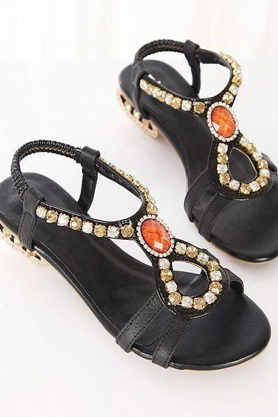 Chic Beaded Black Leather Flat Fashion Sandals
