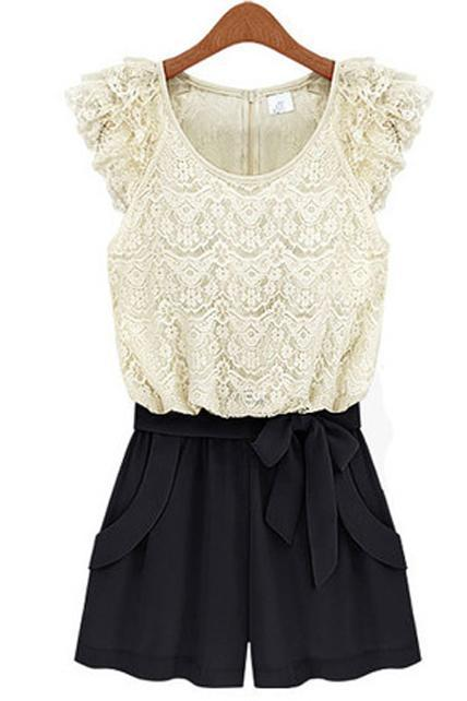 Romantic Lace Pattern Petal Sleeve Color Block Rompers - White&Black