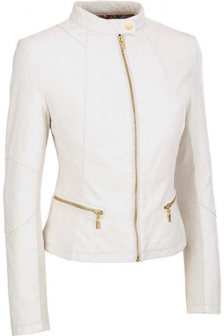 Women white leather jacket, women biker leather jacket