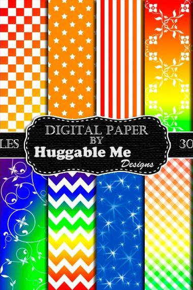 Digital Download Rainbow Scrapbook Paper, Printable Backgrounds, 12x12 - HMD00096